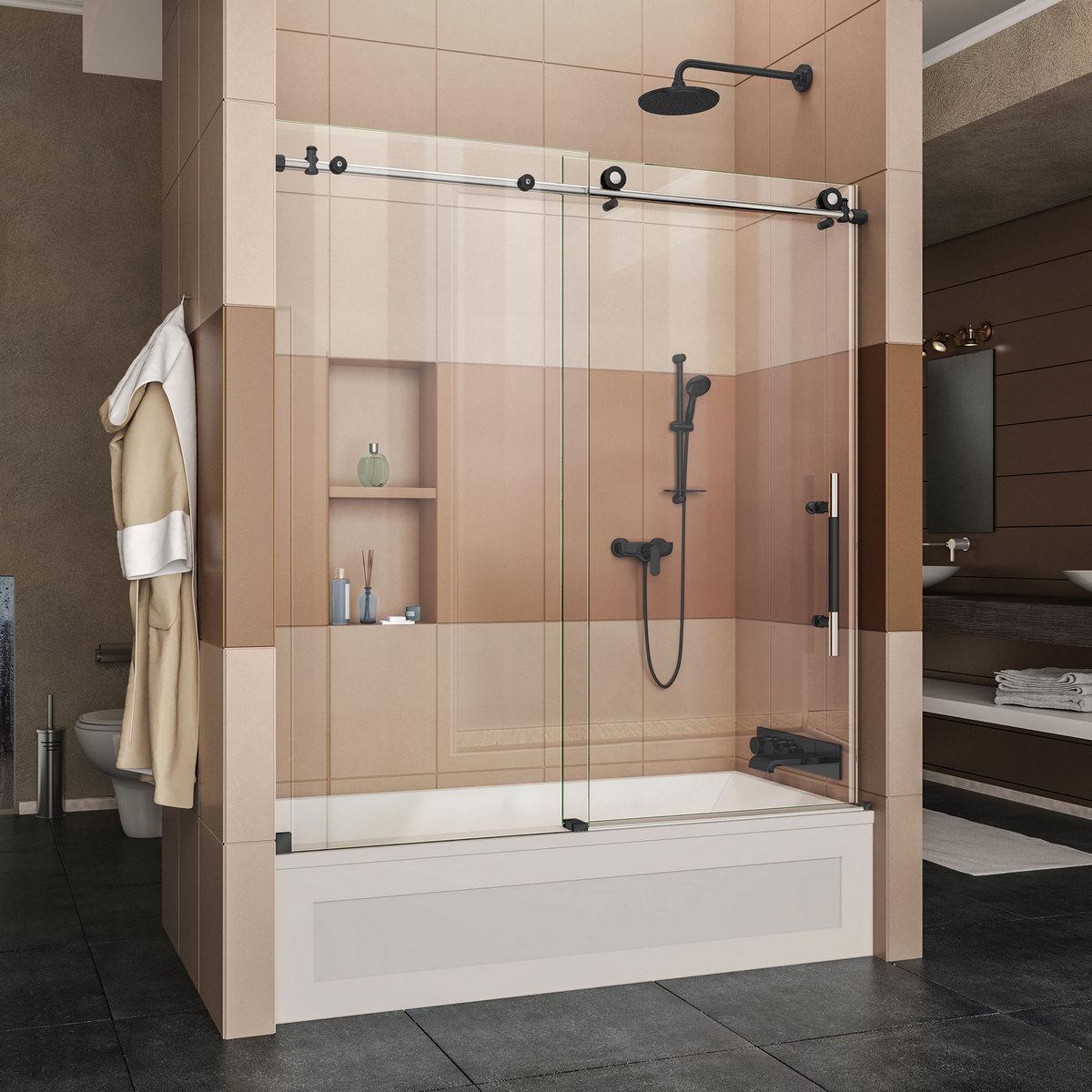 Dreamline Enigma Xt Fully Frameless Sliding Tub Door Tuxedo Finish