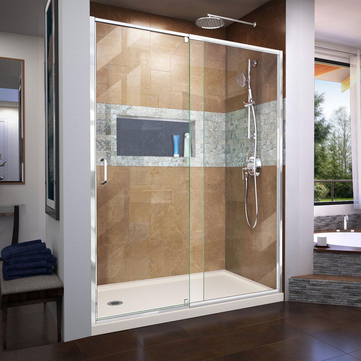 Dreamline Frameless Pivot Shower Door Chrome Left Drain Biscuit Base Kit