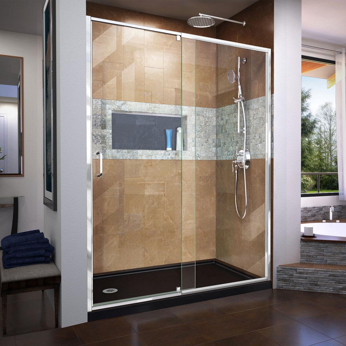 Dreamline Frameless Pivot Shower Door Chrome Left Drain Black Base Kit