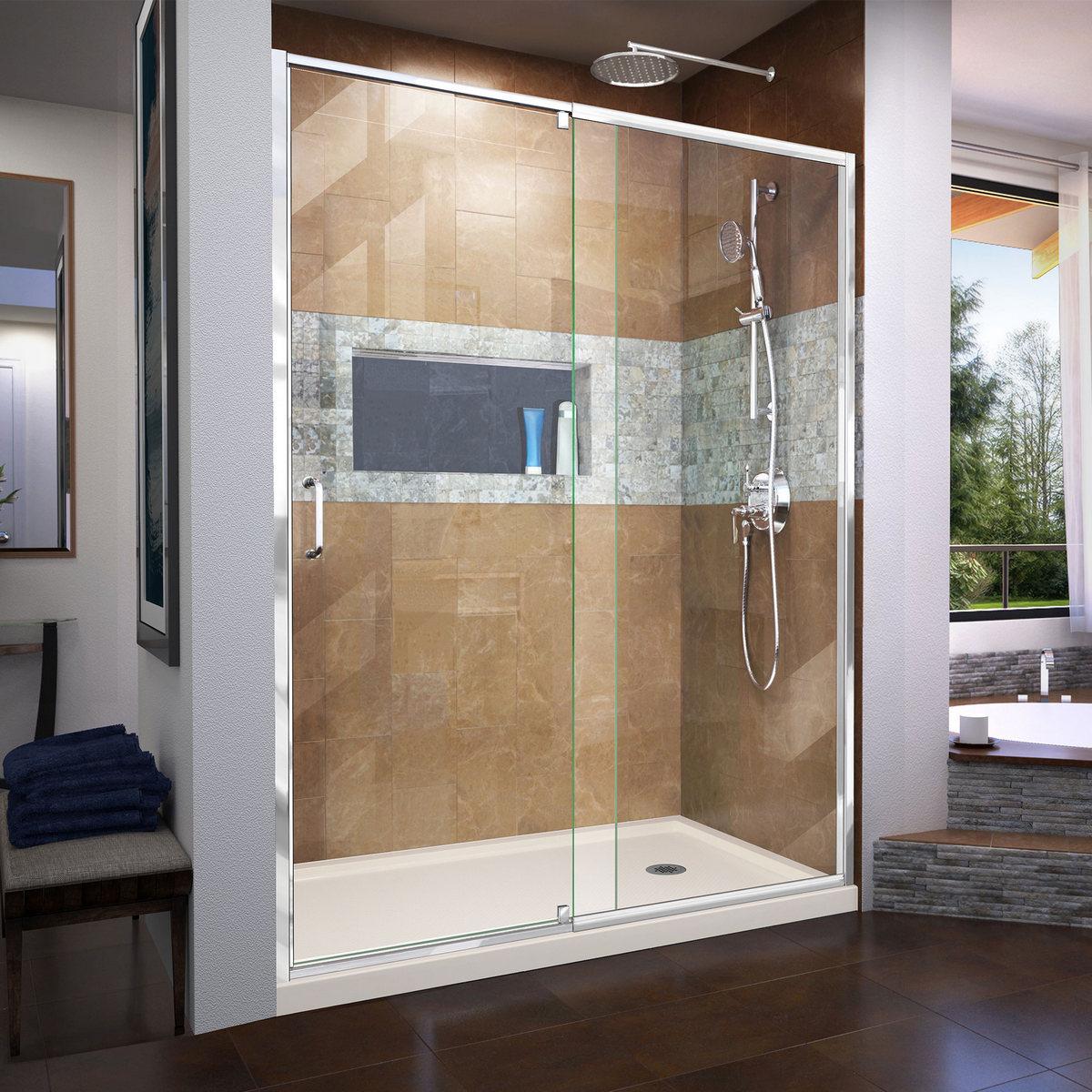 Dreamline Frameless Pivot Shower Door Chrome Right Drain Biscuit Base Kit