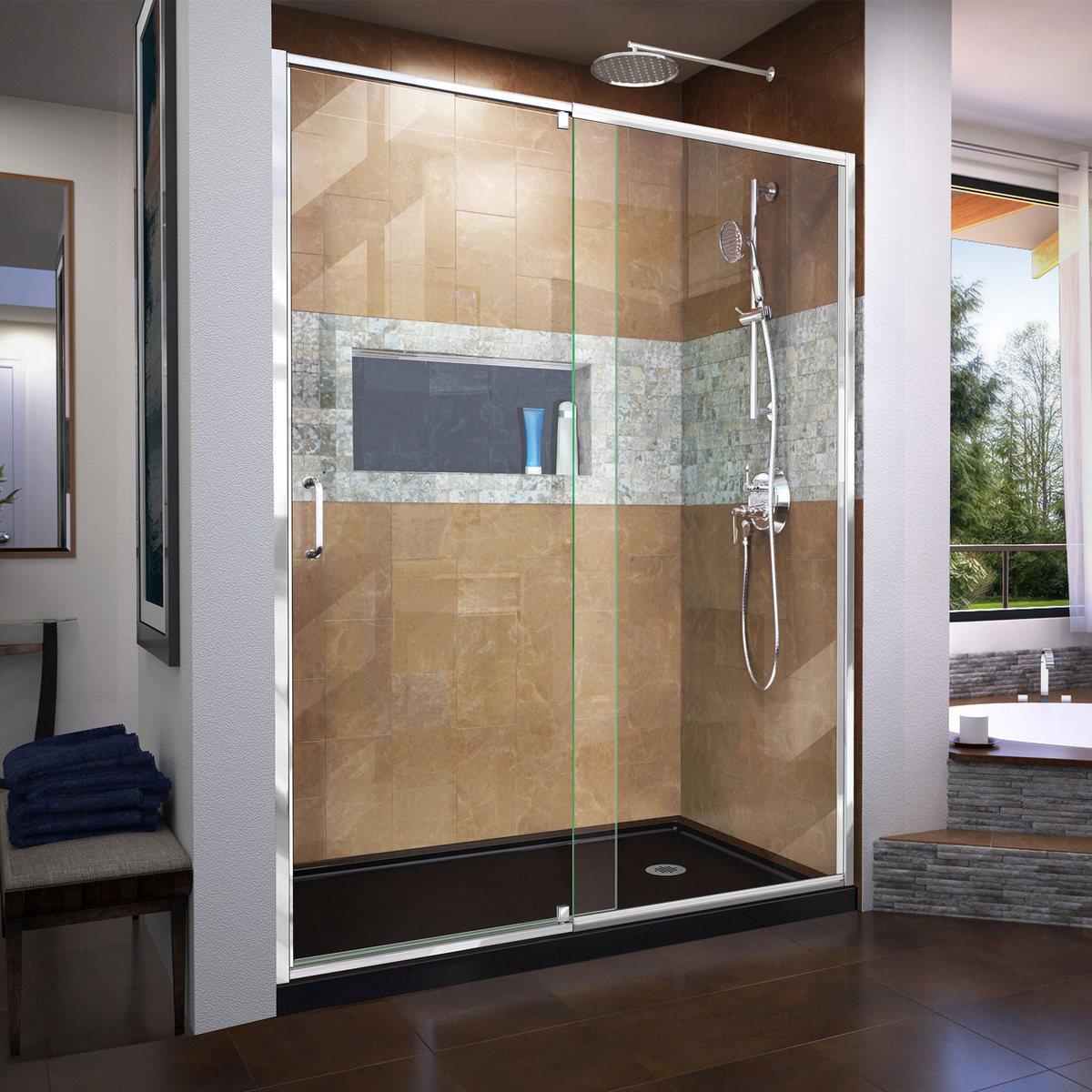 Dreamline Frameless Pivot Shower Door Chrome Right Drain Black Base Kit