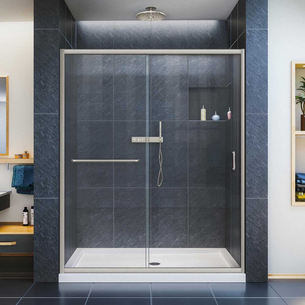 Dreamline Clear Sliding Shower Door Brushed Nickel Right Drain Biscuit Base