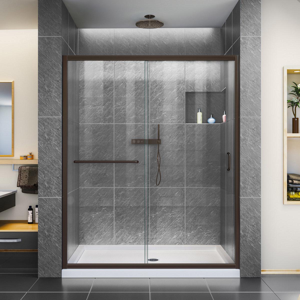 Dreamline Clear Sliding Shower Door Oil Rubbed Bronze Right Drain