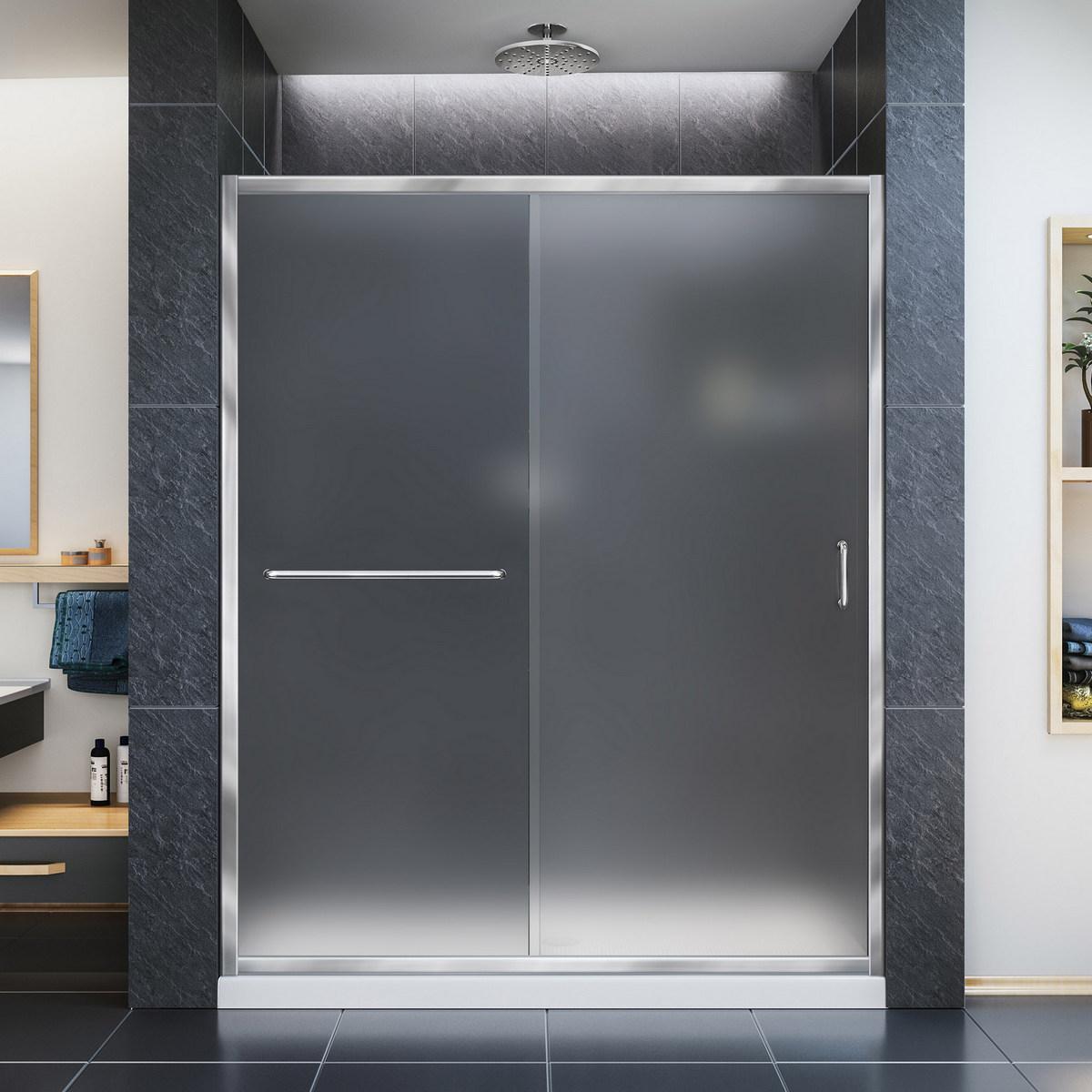Dreamline Frosted Sliding Shower Door Chrome Left Drain Black Base