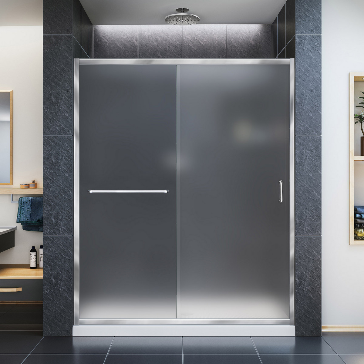 Dreamline Frosted Sliding Shower Door Chrome Right Drain Black Base