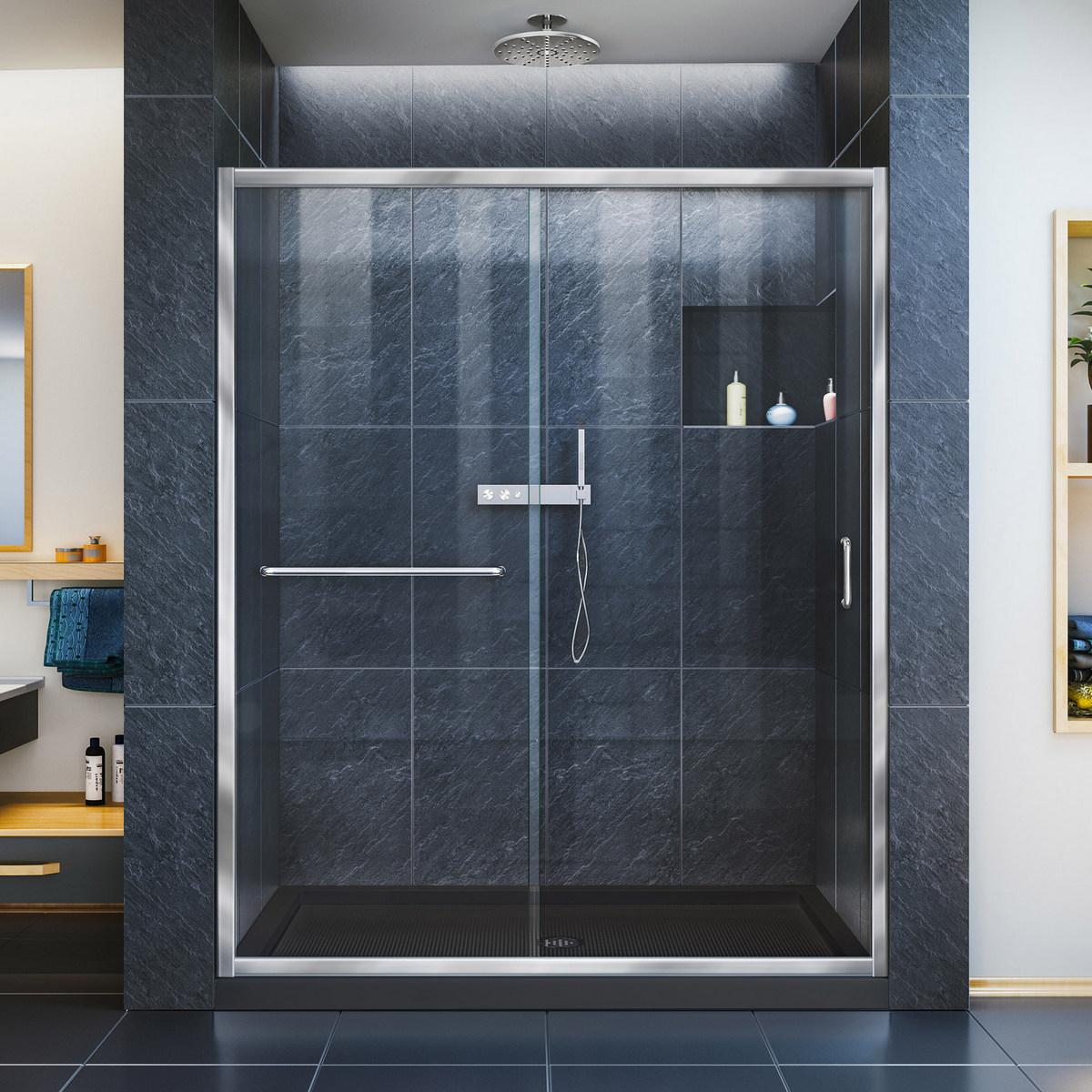 Dreamline Clear Sliding Shower Door Chrome Center Drain Black Base
