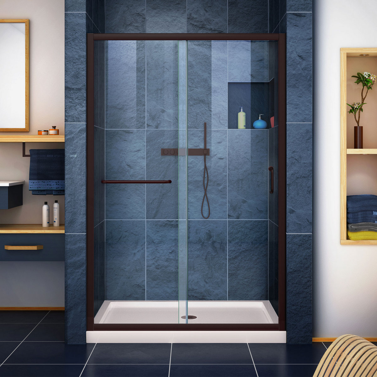 Dreamline Clear Sliding Shower Door Oil Rubbed Bronze Center
