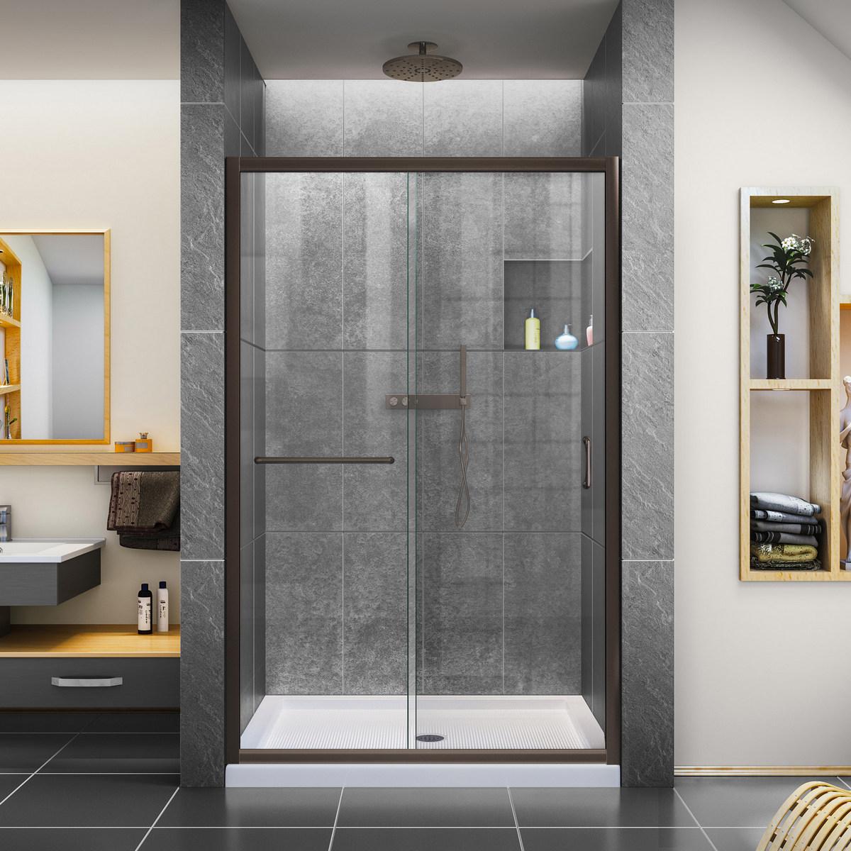 Dreamline Clear Sliding Shower Door Oil Rubbed Bronze Center
