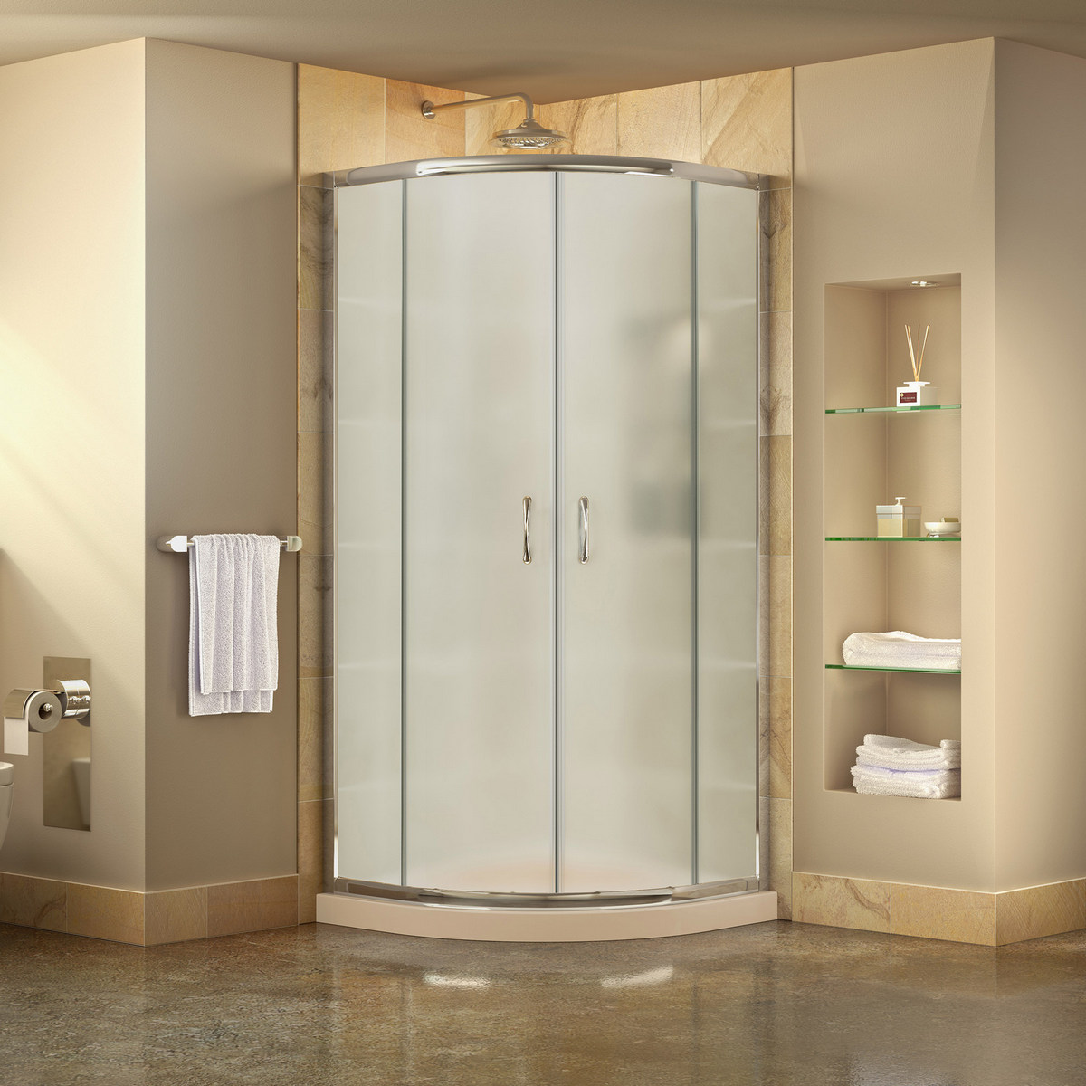 Dreamline Prime Frosted Sliding Shower Enclosure Chrome Corner
