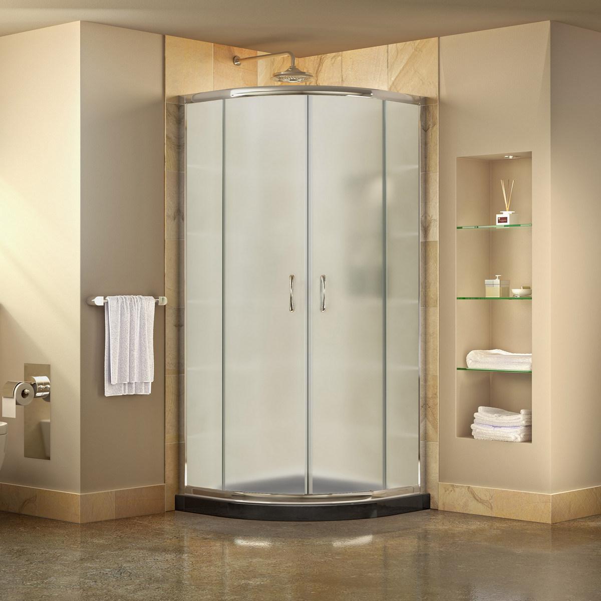Dreamline Prime Frosted Sliding Shower Enclosure Chrome Corner