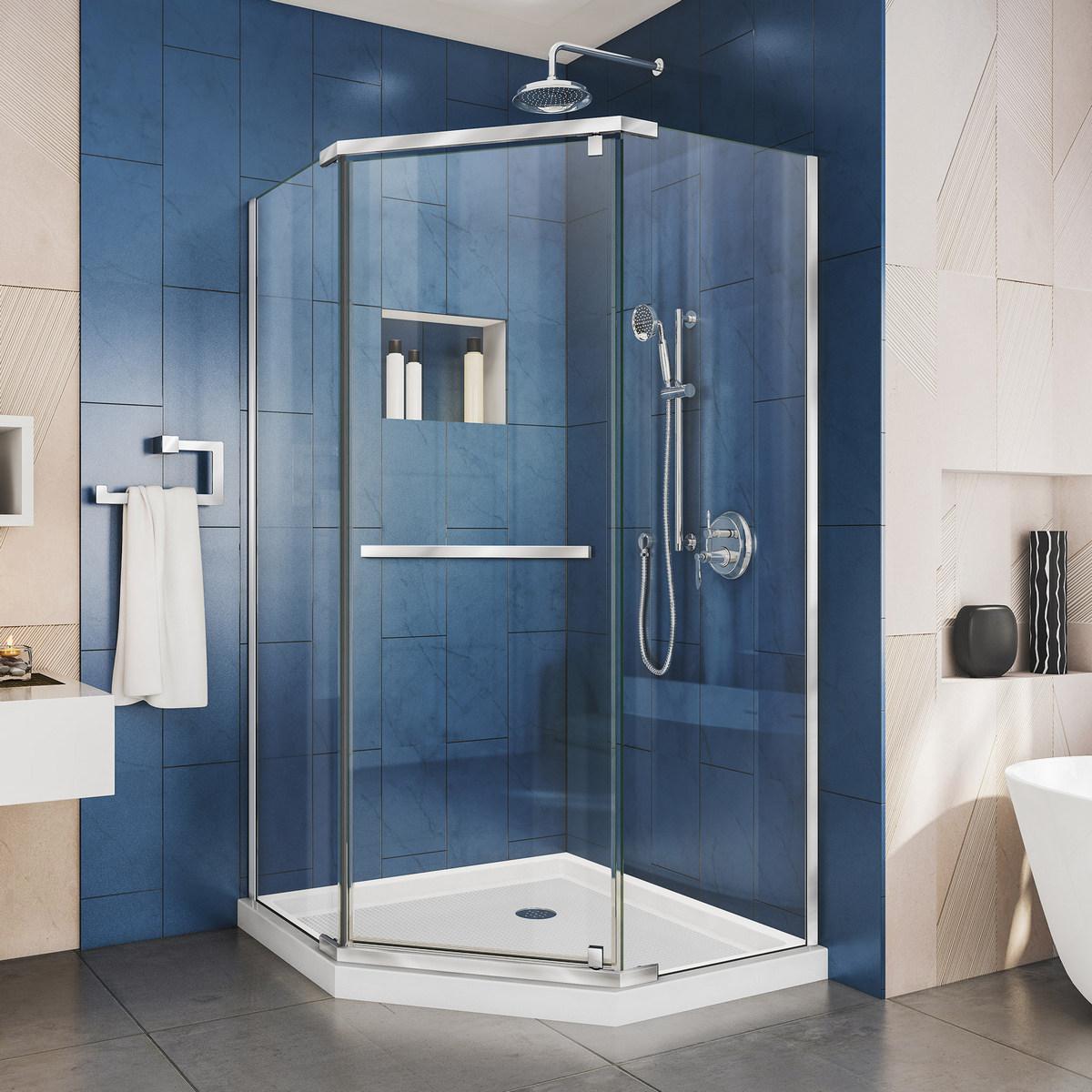 Dreamline Pivot Shower Enclosure Chrome Corner Drain White Base Kit