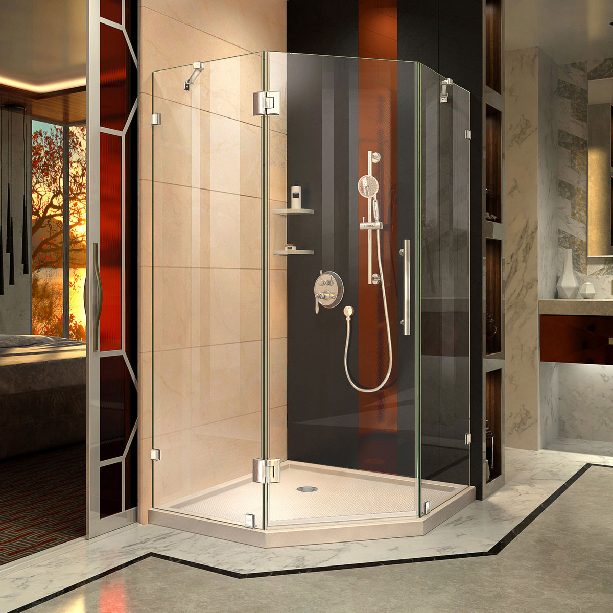 Dreamline Lux Hinged Shower Enclosure Chrome Corner Drain Biscuit Base Kit