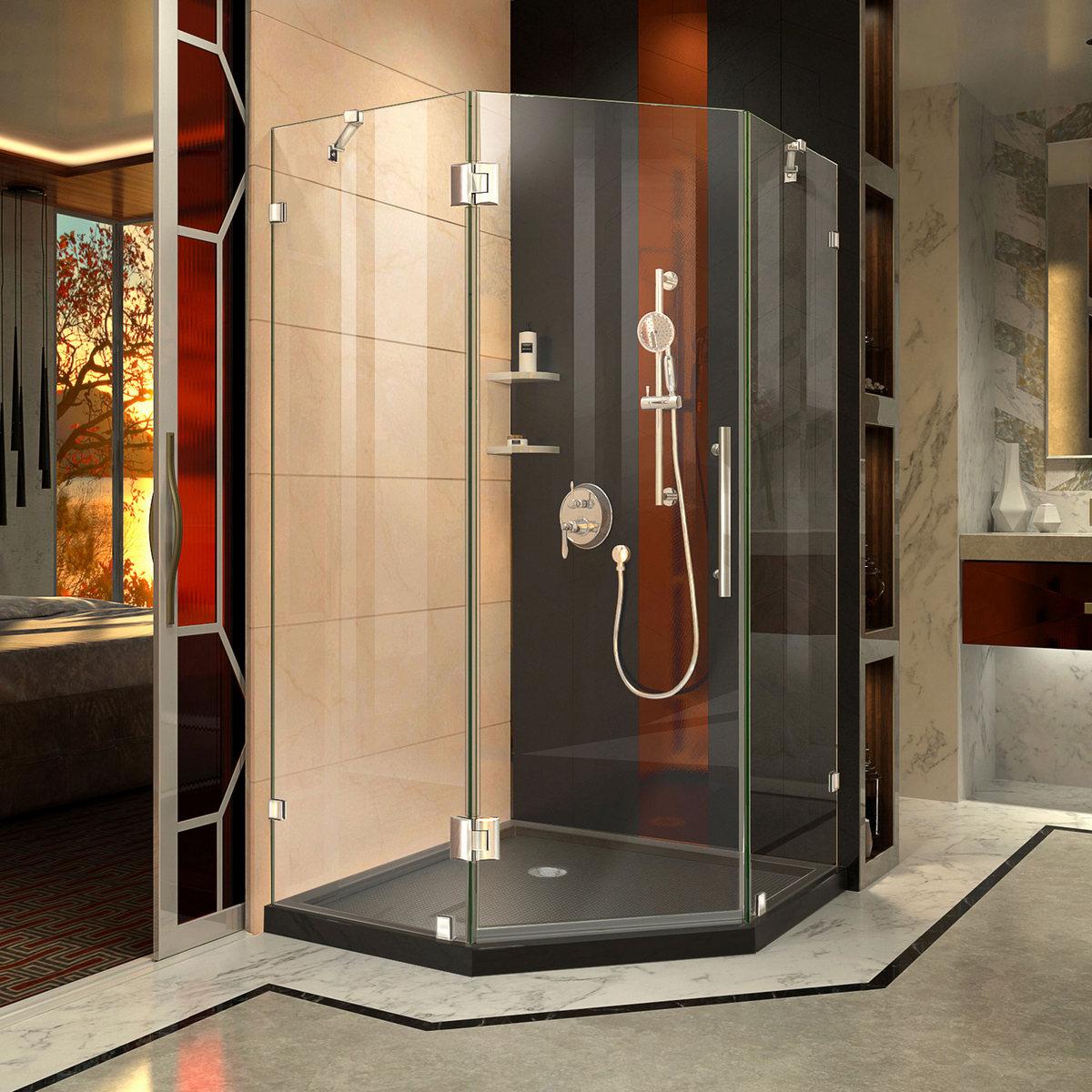 Dreamline Lux Hinged Shower Enclosure Chrome Corner Drain Black Base Kit