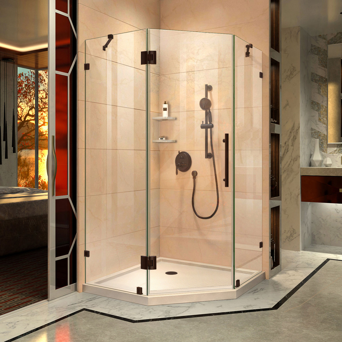 Dreamline Lux Hinged Shower Enclosure Oil Rubbed Bronze Corner