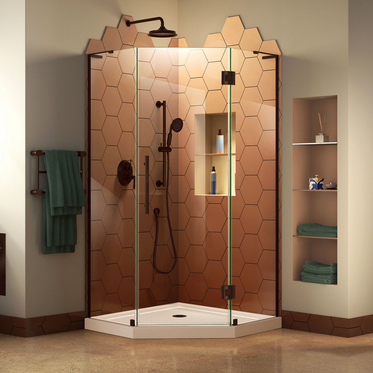 Dreamline Hinged Shower Enclosure Oil Rubbed Bronze Corner Drain