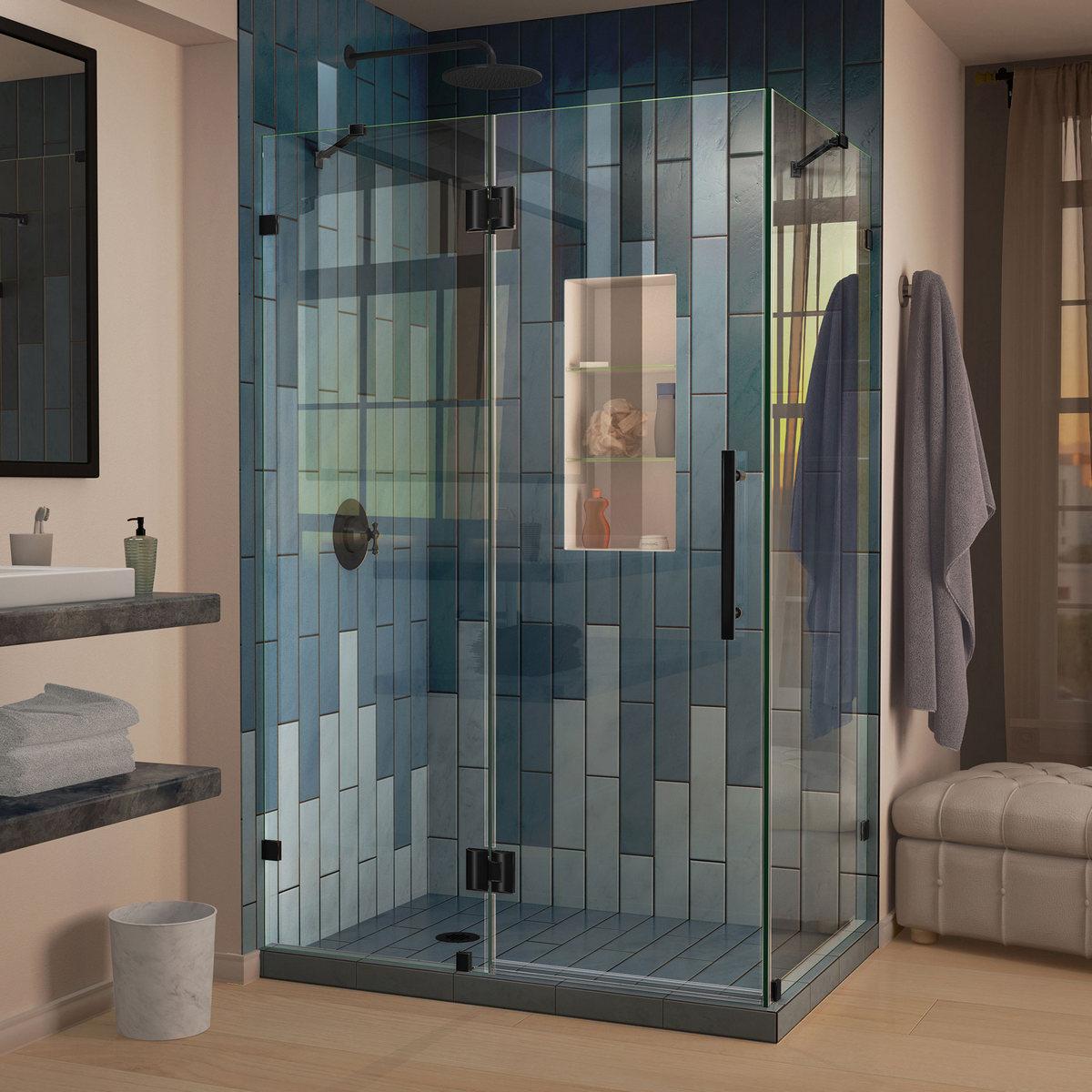 Dreamline Quatra Lux Frameless Hinged Shower Enclosure Satin Black