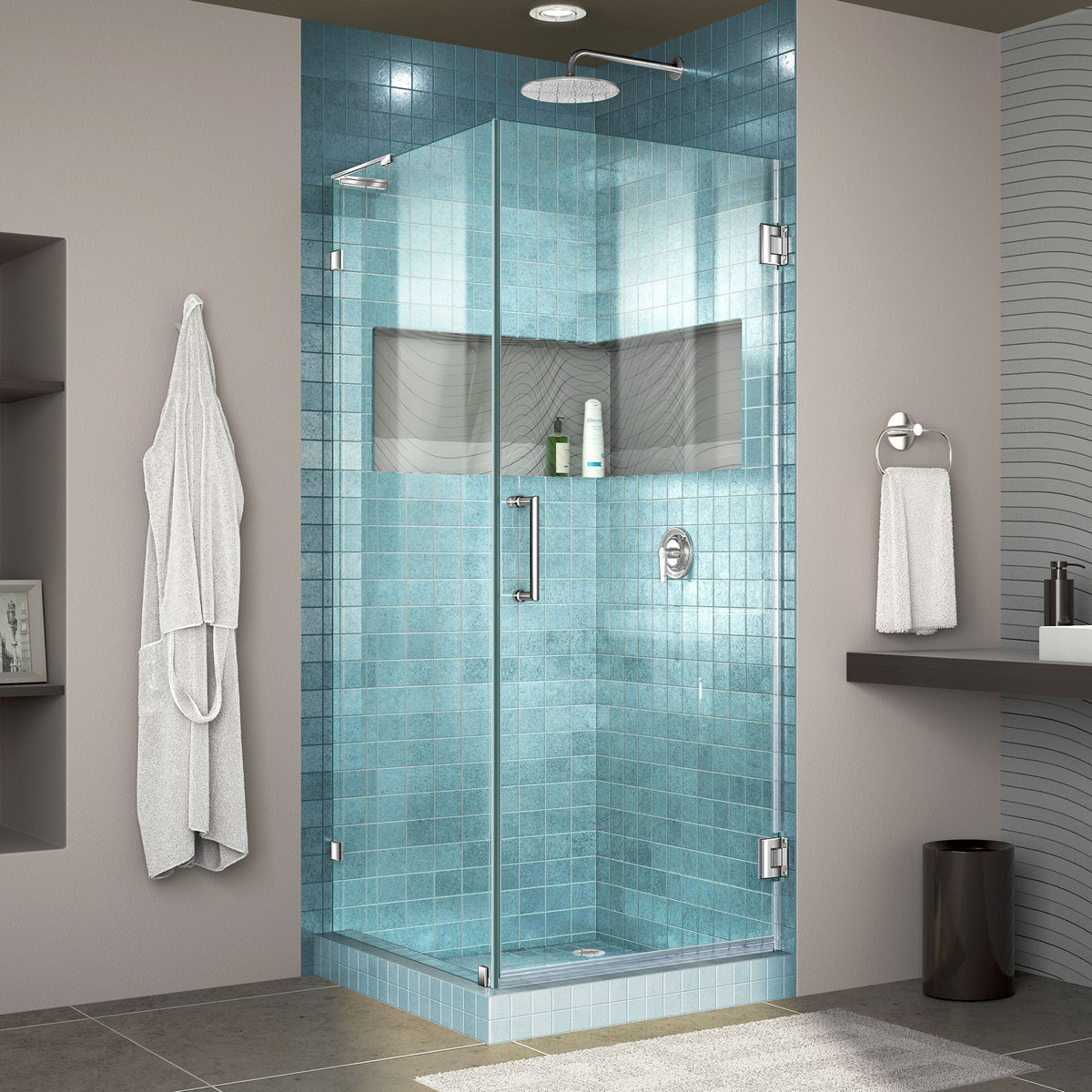 Dreamline Lux Frameless Hinged Shower Enclosure Bar Chrome