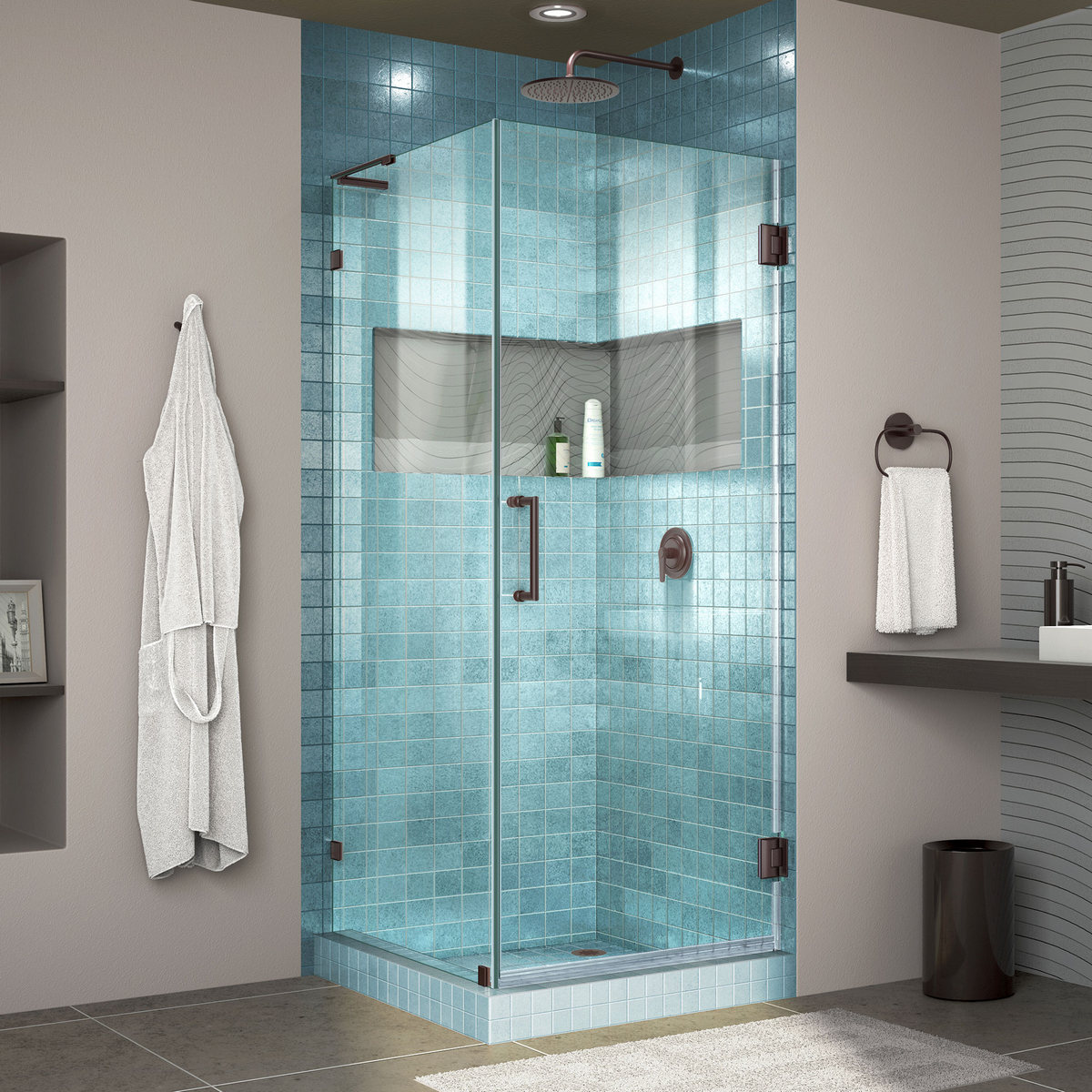 Dreamline Lux Frameless Hinged Shower Enclosure Bar Oil Rubbed Bronze