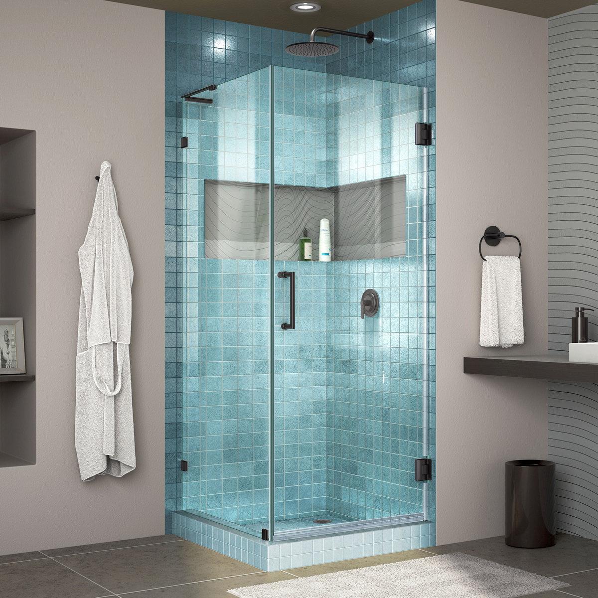 Dreamline Lux Frameless Hinged Shower Enclosure Bar Satin Black