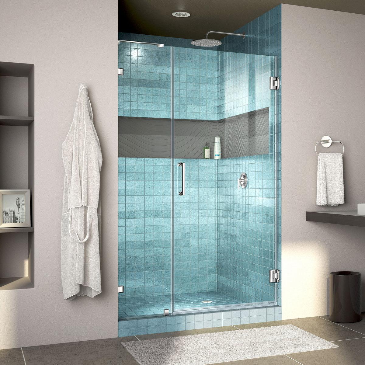 Dreamline Lux Fully Frameless Hinged Shower Door Bar Chrome