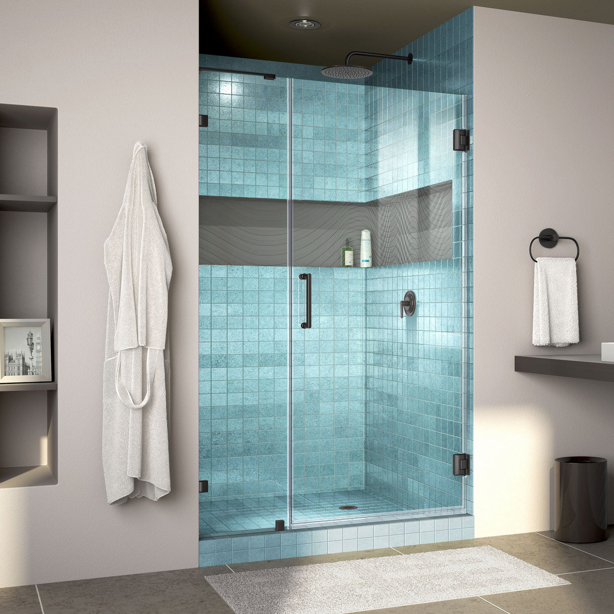 Dreamline Lux Fully Frameless Hinged Shower Door Bar Satin Black