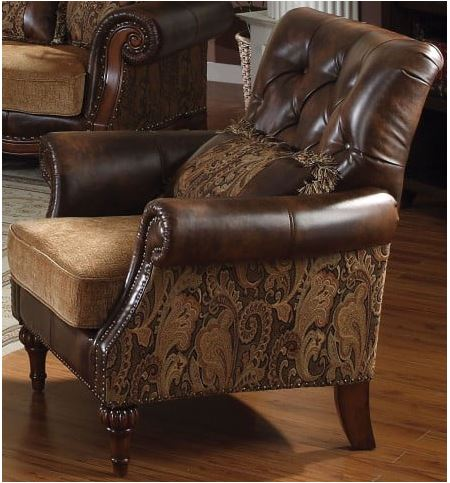 Acme Dreena Chair Pillow Tone Brown Pu Chenille