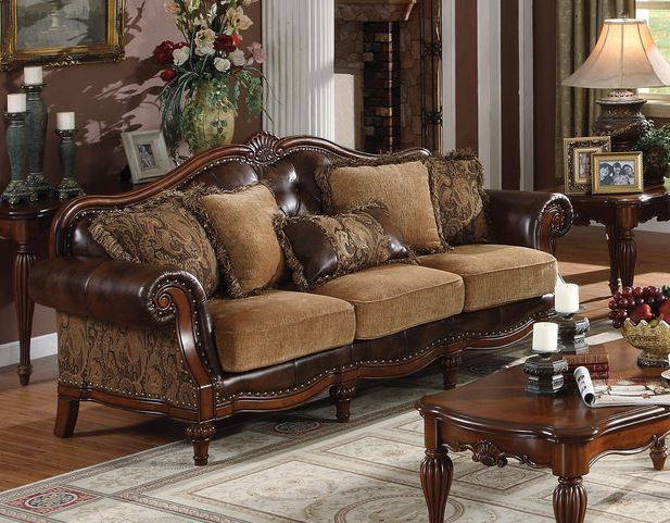 Acme Dreena Sofa Pillows Two Tone Brown Pu Chenille