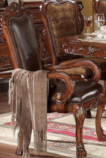 Acme Arm Chair Set Pu Cherry Oak