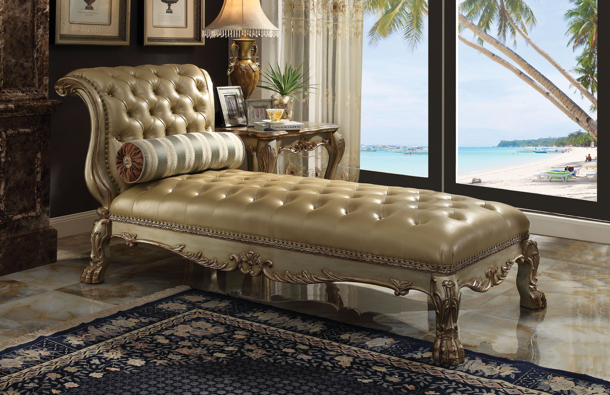 Acme Chaise Pillow Bone Pu Gold Patina