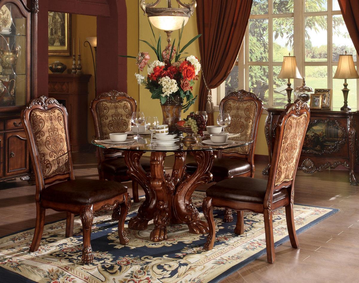Acme Dining Table Single Pedestal Cherry Oak