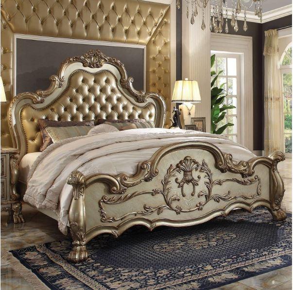 Acme Eastern King Bed Bone Pu Gold Patina