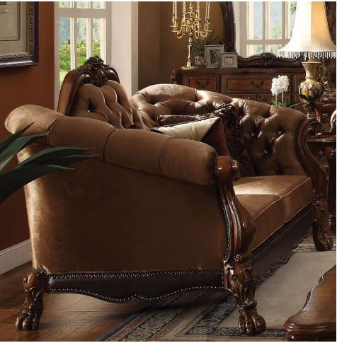 Acme Loveseat Pillows Golden Brown Velvet Cherry Oak
