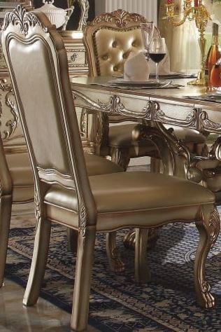 Acme Side Chair Bone Pu Fabric Gold Patina