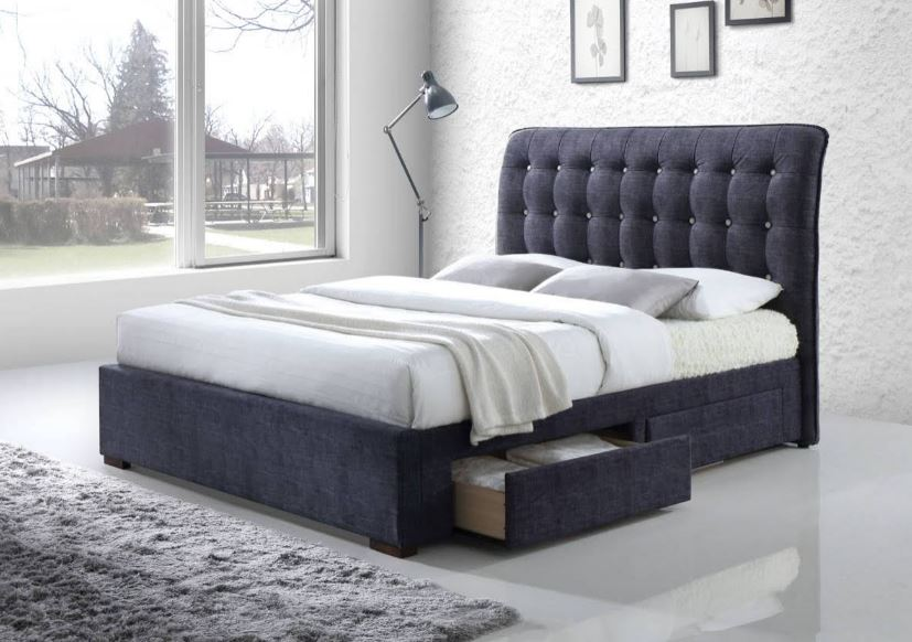 Acme Drorit Eastern King Bed Storage Dark Gray Fabric