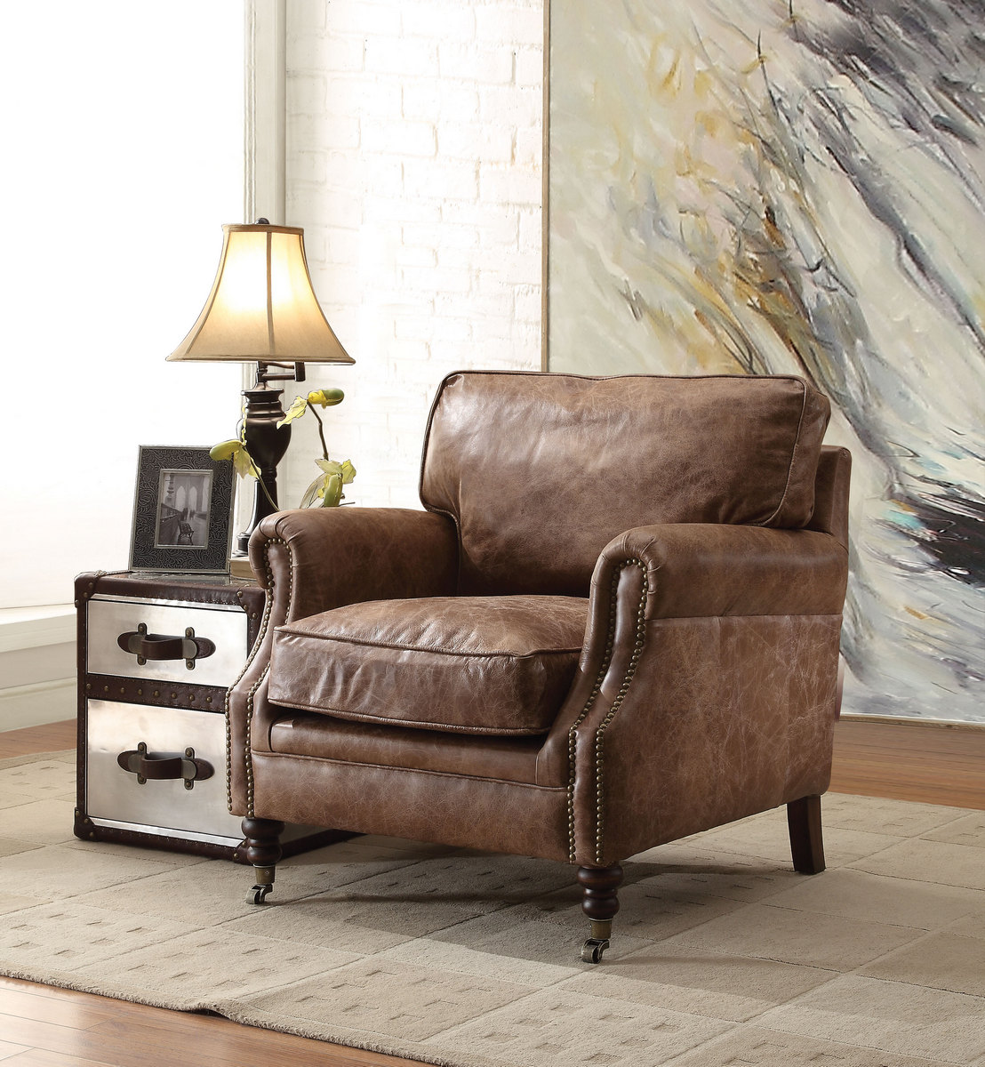 Acme Dundee Accent Chair Retro Brown Grain Leather
