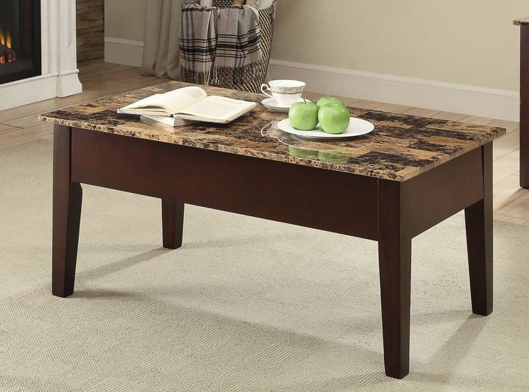 Lift Top In Light Brown Faux Marble