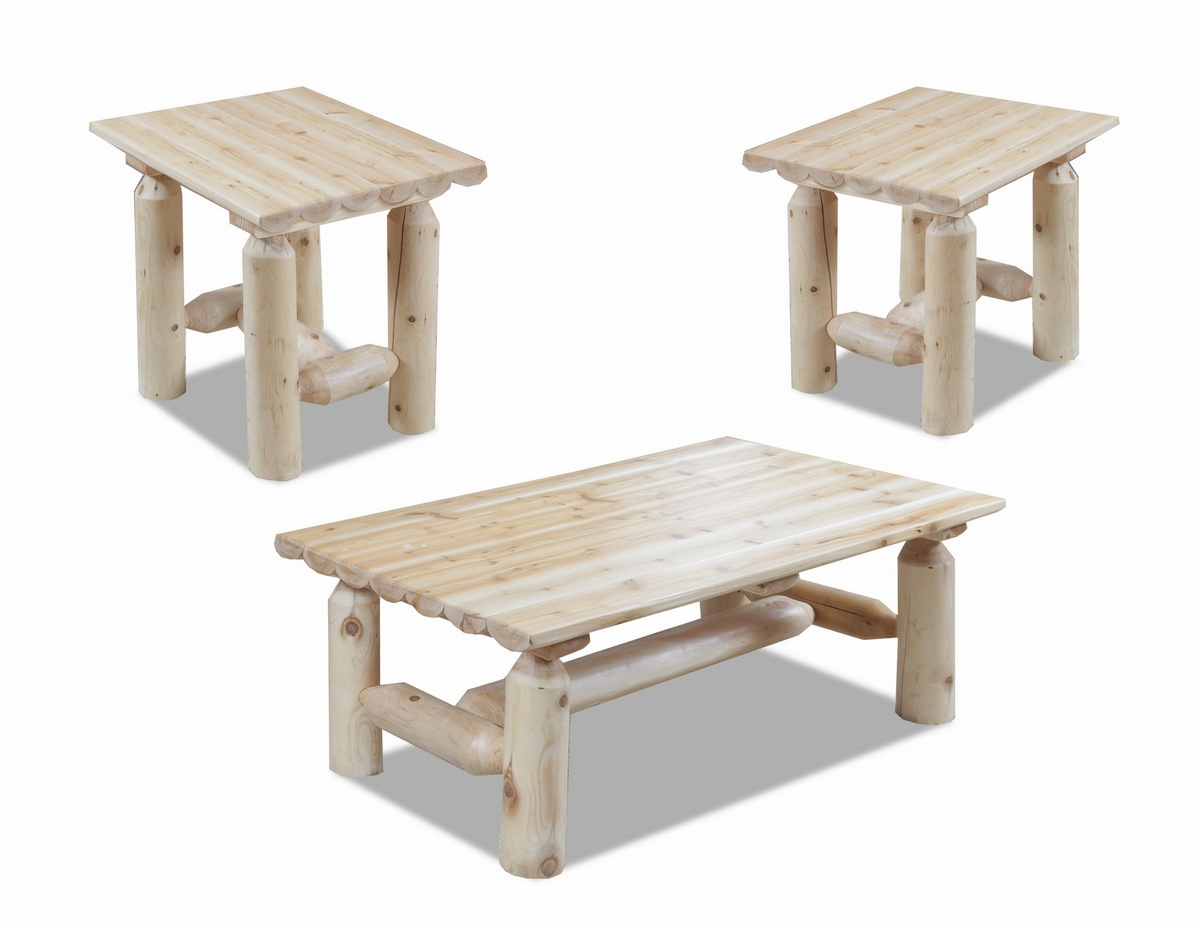 Easton Log Coffee Two End Tables