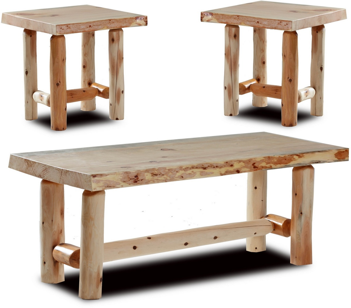 Chelsea Home Easton Rustic Coffee Two End Tables Natural