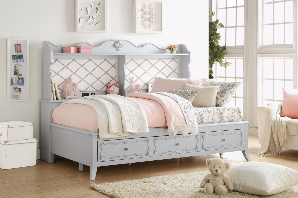 Acme Edalene Daybed Storage Gray