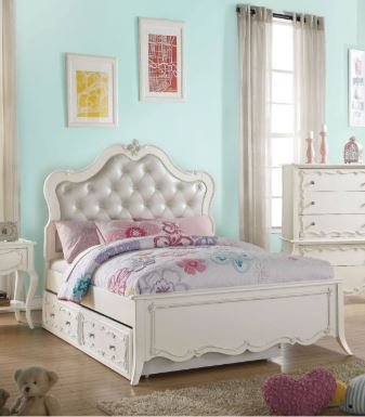 Acme Edalene Full Bed Pu Pearl White