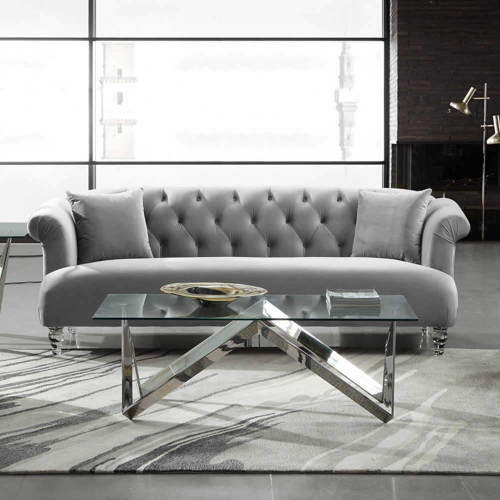 Armen Living Contemporary Sofa Grey Velvet Acrylic Legs