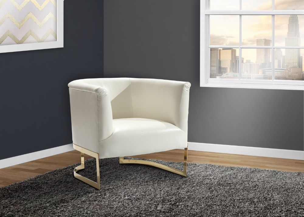 Armen Living Elite Contemporary Accent Chair White Gold Finish
