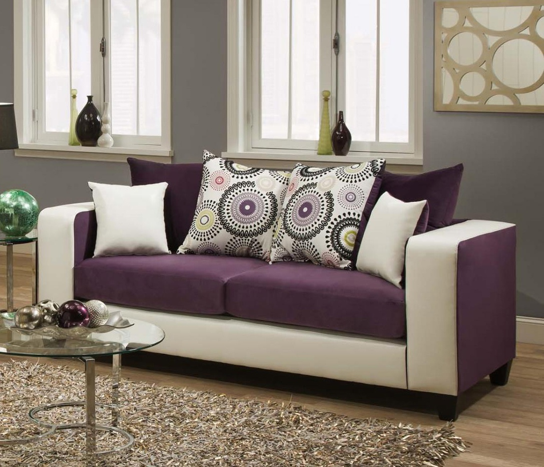 Chelsea Home Emboss Sofa Implosion Purple Demsey White Accent Pillows
