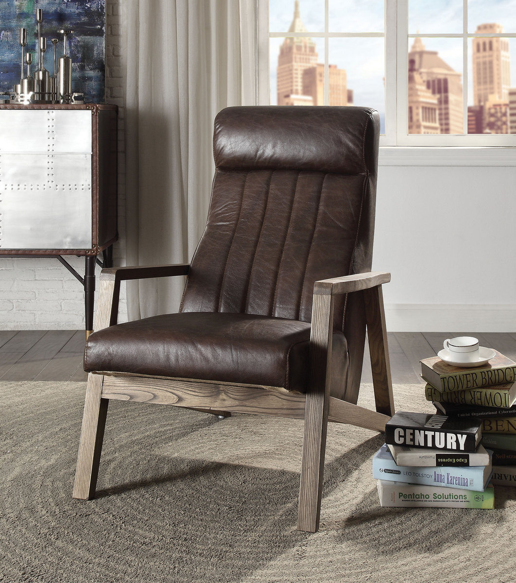 Acme Emint Accent Chair Distress Chocolate Grain Leather