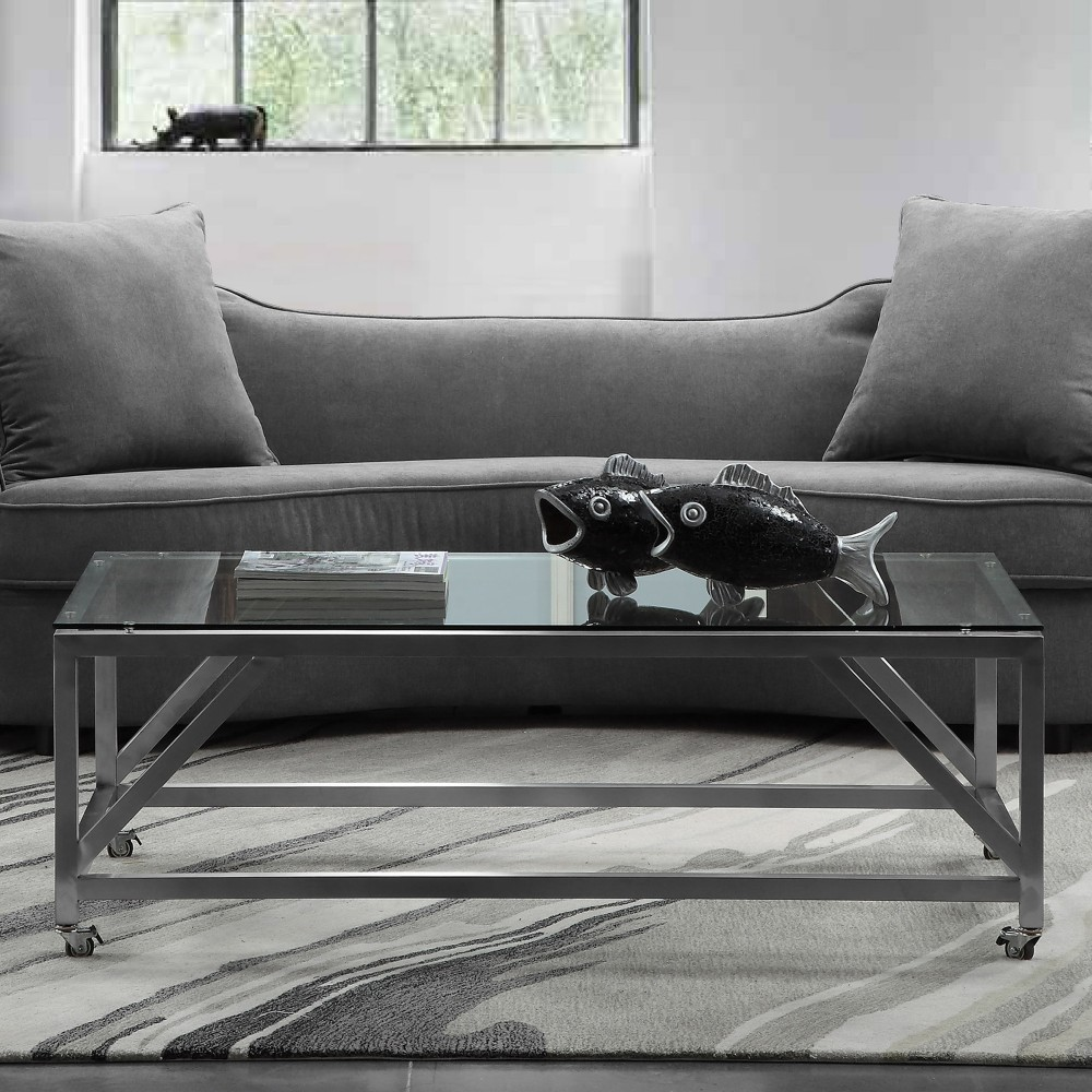 Armen Living Enessa Contemporary Rectangular Coffee Table Wheels