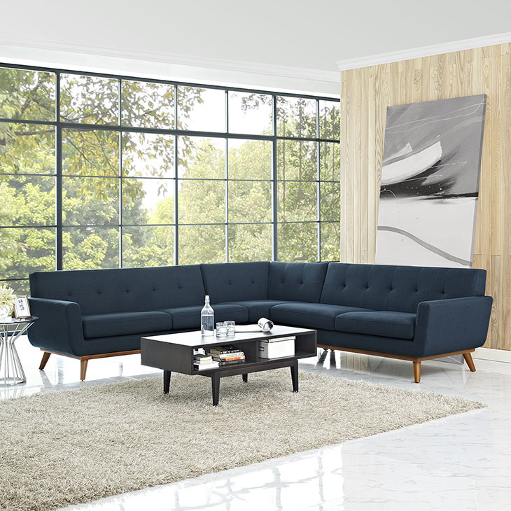 East End Shaped Sectional Sofa Azure