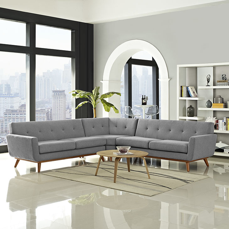 East End Shaped Sectional Sofa Expectation Gray