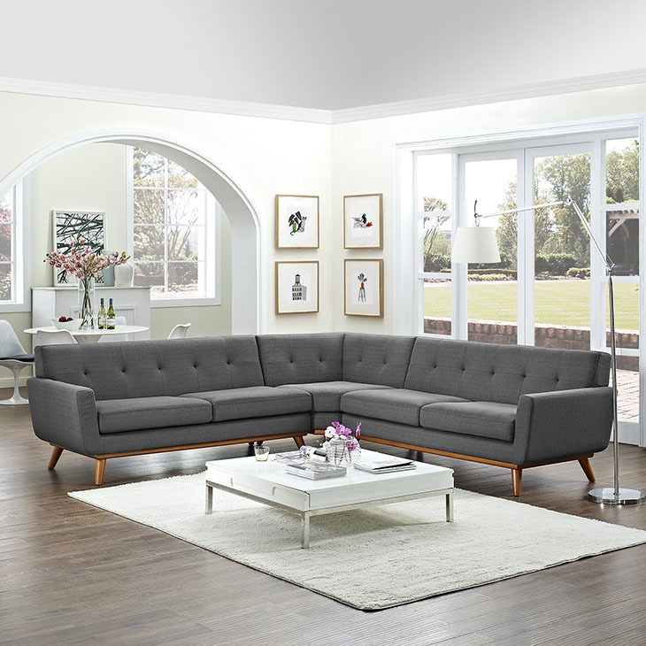 East End Shaped Sectional Sofa Gray