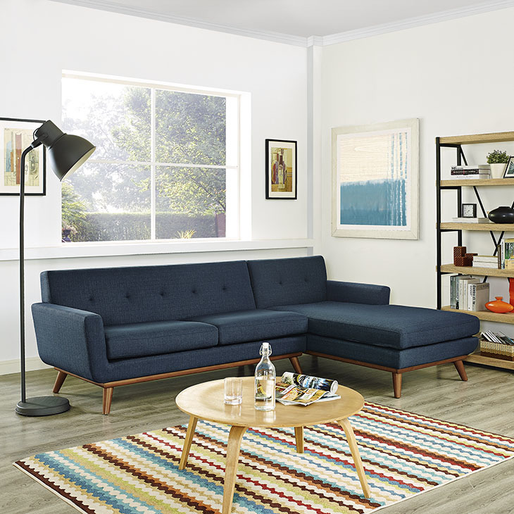 East End Right Facing Sectional Sofa Azure