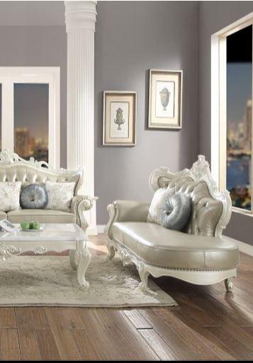 Acme Erigeron Chaise Pillows Bone Tglm Antique Pearl